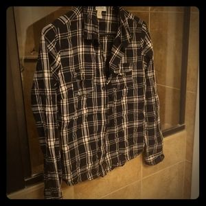 black, white and tan plaid women's button up